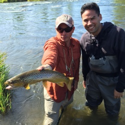 Happy client with a nice Middle Provo brown trout